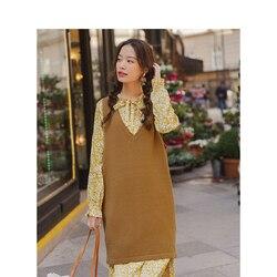Женское платье-жилет с цветочным принтом, длинное платье в модном стиле, Осень-зима 2020