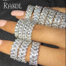 RAKOL 2021 Luxury Charm AAA Baguette Green Blue Yellow Crystal Cubic Zirconia Wedding Ring for Women Girl Simple Fashion Jewelry