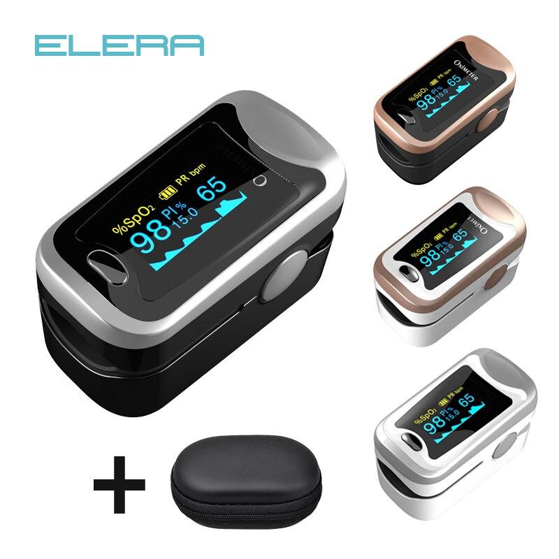 Oxymètre de doigt numérique, affichage d'oxymètre de pouls OLED pulsioximetro SPO2 PR oximetro de dedo, oxymètre un doigt avec étui de transport