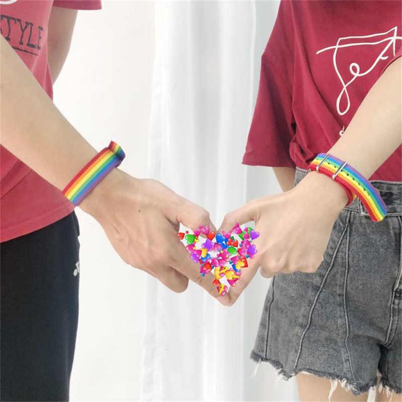 نيبال قوس قزح المثليات المثليين جنسيا المتحولين جنسيا أساور للنساء الفتيات فخر المنسوجة مضفر الرجال زوجين الصداقة مجوهرات