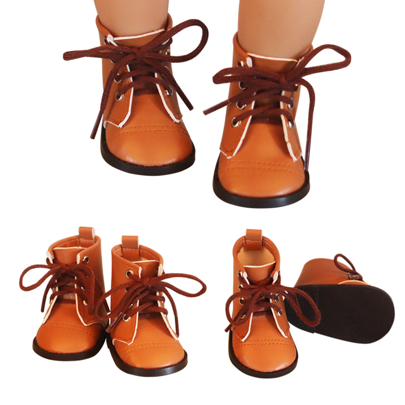 Newest Brown Color Doll Lace Martin Boots High-quality Leather Doll Shoes 7cm For 18 Inch American And 43 New Baby Dolls Toy