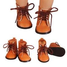 Yeni kahverengi renkli bebek dantel Martin çizmeler yüksek kaliteli deri bebek ayakkabı 7cm 18 inç amerikan ve 43 yeni bebek bebek oyuncak