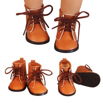 newest brown color doll lace martin boots high quality leather doll shoes 7cm for 18 inch american and 43 new baby dolls toy Newest Brown Color Doll Lace Martin Boots High-quality Leather Doll Shoes 7cm For 18 inch American And 43 New Baby Dolls Toy