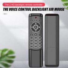 MT1 תאורה אחורית ג יירו אלחוטי לטוס אוויר עכבר 2.4G חכם קול שלט רחוק עבור X96 מיני H96 מקס X2 קובייה אנדרואיד טלוויזיה תיבת vs G10