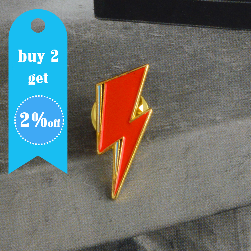 Aladdin Sane Lightning Bolt Enamel Pin David Bowie inspired Red lightning Brooch for Women Men Lapel Pin Jewelry 2