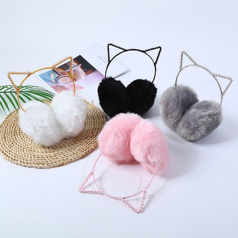 Women Girls Winter Thicken Plush Earmuffs Cute Rhinestone Cat Ears Headband Elastic Ear Warmer Birthday Cosplay Party Headwear