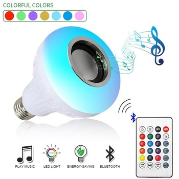 Smart E27 RGB Wireless Bluetooth Audio Speaker LED Bulb Light 12W Music Playing Dimmable Lamp with 24 Keys Remote Control