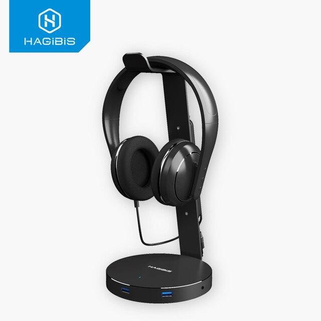 Hagibis suporte de fone de ouvido com 4 portas usb 3.0 hub, exibição de porta de áudio para suporte e cabo de fone de ouvido armazenamento de armazenamento