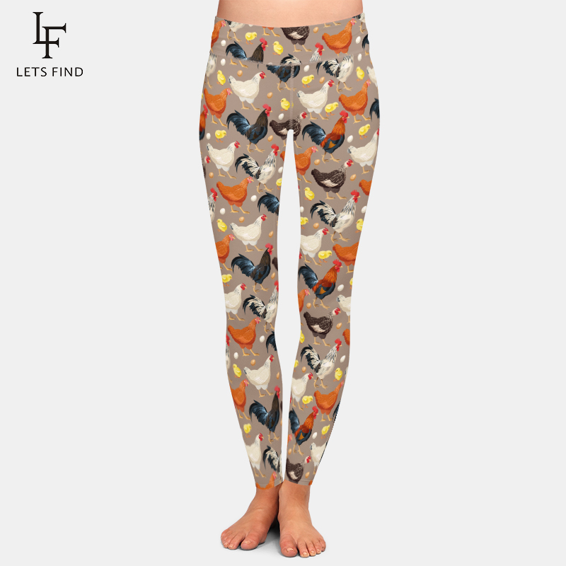 LETSFIND 2020 New Women Leggings Fashion High Waist High Waist 3D Chicken Print Elastic Fitness Soft Slim Leggings Plus Size