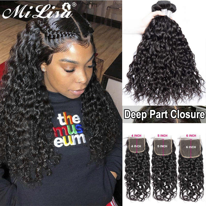 10- 30 inch Water Wave 3 Bundles With Closure Brazilian Human Hair Weave Bundles with 4x4 5x5 6x6 Lace Closure Remy Mi Lisa Hair