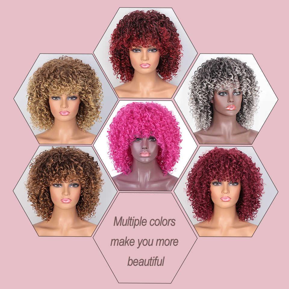 Ik Een Pruik Korte Synthetische Pruiken Afro Kinky Krullend Pruik Voor Vrouwen 8 Kleuren Beschikbaar Zwart Natuurlijke Afro Hoge temperatuur Haar
