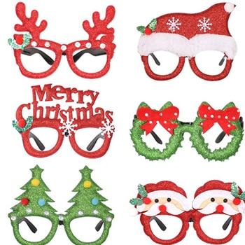 Xmas Kid Toys Decorations Adult Children Toys Santa Snowman Antler Glasses Frame Christmas Decoration Glasses For Home Supplies