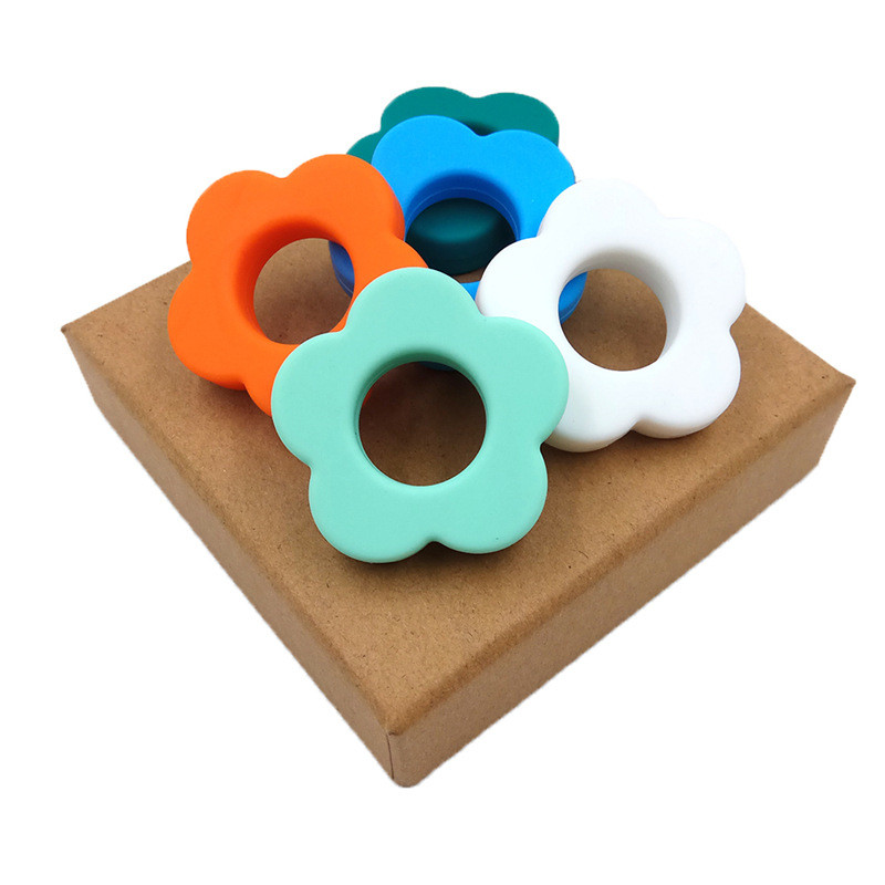 1Pcs Silicone Beads 45mm Flower Shape Teether DIY Baby Nursing  Food Grade Beads Accessorie  Color Perle Silicone Teething  Toys