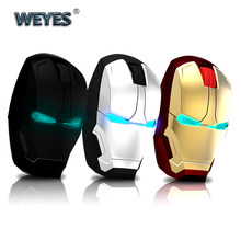 Iron Man Mouse Wireless Mouse Gaming Mouse gamer Mute Button Silent Click 800/1200/1600 / 2400DPI Adjustable computer mice(China)