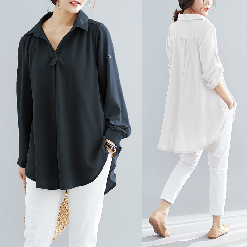 Sc2019 Summer New Style Korean-style Long Sleeve Chiffon Pendulum Slimming Belly Large Size Fat Mm Shirt