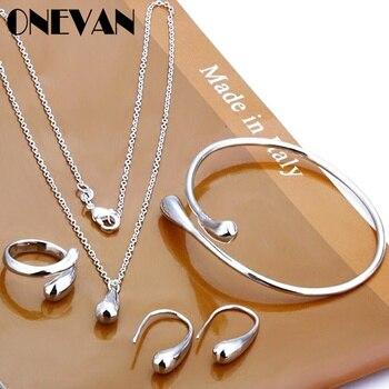 סט תכישטים שרשרת עגילים טבעת וצמיד  Eardrop צורת תליון Neckalce  1