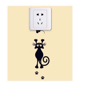 Wall Switch Cat Decoration Removable Wall Stickers Self-adhesive Cartoon Bedroom Living Room Home Decoration Art Wall Decals image