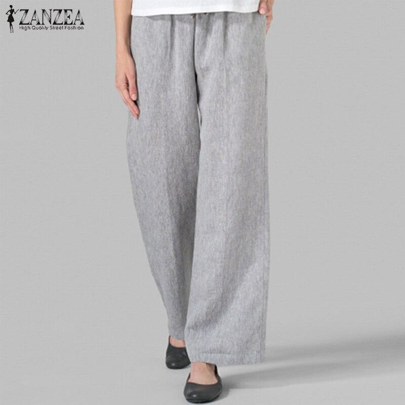 ZANZEA Women Pants Elastic Waist Wide Leg Pants Autumn Solid Loose Trousers Casual Lace Up Pantalon Long Harem Pants Plus Size