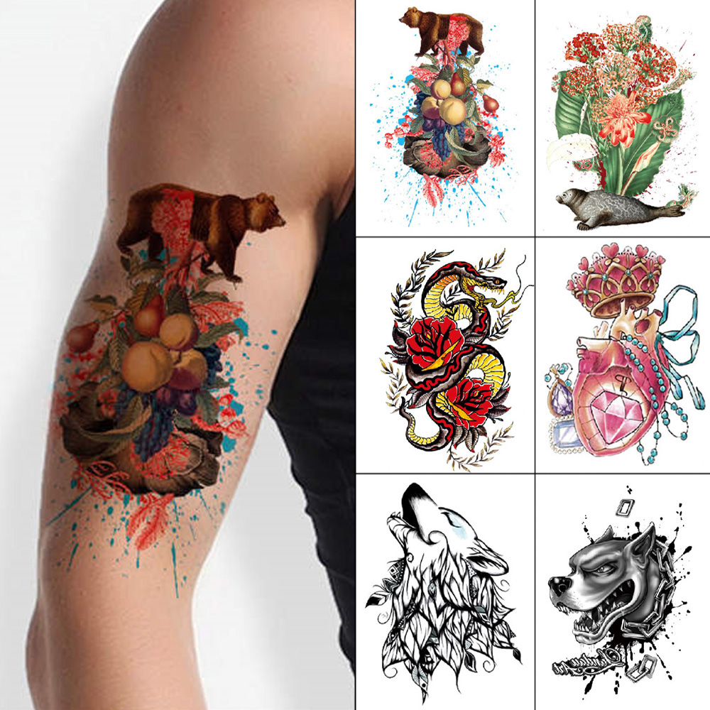 Temporary Tattoo Sticker 1 Piece Black And Color Waterproof Tattoo Flower Leopard Tiger Snake Skull Skeletons Men Women Arms
