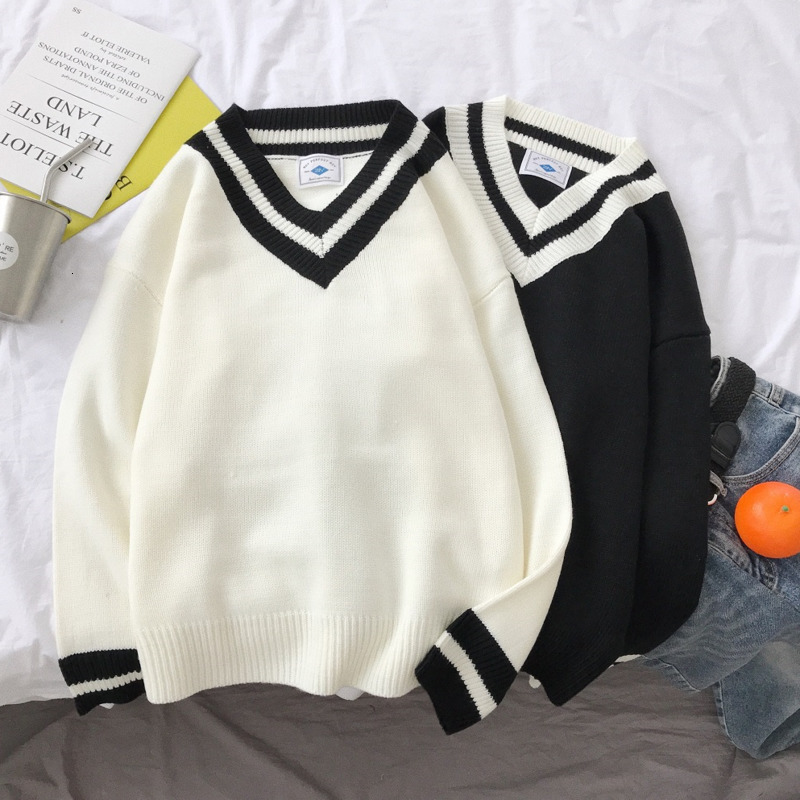 2019 UYUK New Instagram Loose V Pilot Style Casual Fashion Trend Youthful Temperament Stripe Men's Sweater Clothes Hombre