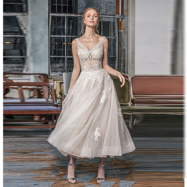 Verngo Aline Short Wedding Dress Ivory Appliques Tulle Backless Wedding Gowns Elegant Bride Dress vestidos de novia 2019