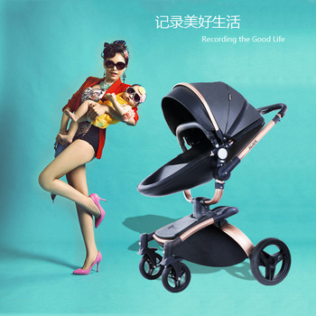 3 in 1 Luxury PU Material Baby Stroller Folding Carriage High Landscape Multifunctional Newborn Baby Stroller With Car Seat image