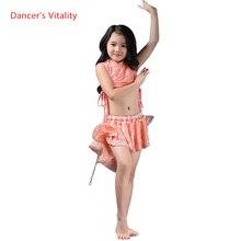 Kızlar zarif oryantal dans giysileri 2 adet (kolsuz üst + etek) kızlar oryantal dans elbise çocuk güzel oryantal dans giyim 3 renk S/L
