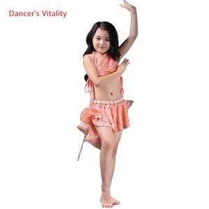 Image 1 - Meninas elegantes roupas de dança do ventre 2pcs(sleeveles top + saia) meninas terno criança Encantadora dança do ventre roupas de dança do ventre 3 cores S/L