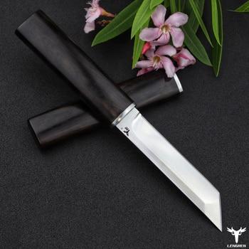 LENGREN D2 steel Japanese mirror knife, 58 60HRC vacuum heat treatment sharp camping hunting knife series (Samurai style) 4