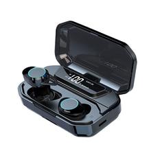G02 TWS بلوتوث سماعة 5.0 سماعات بلوتوث لاسلكية 9D ستيريو سماعة الموسيقى التحكم باللمس LED عرض 3300mAh قوة البنك