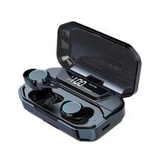 G02 tws bluetoothイヤホン5.0ワイヤレスbluetoothイヤフォン9Dステレオ音楽ヘッドセットタッチ制御ledディスプレイ3300 2600mahのパワーバンク