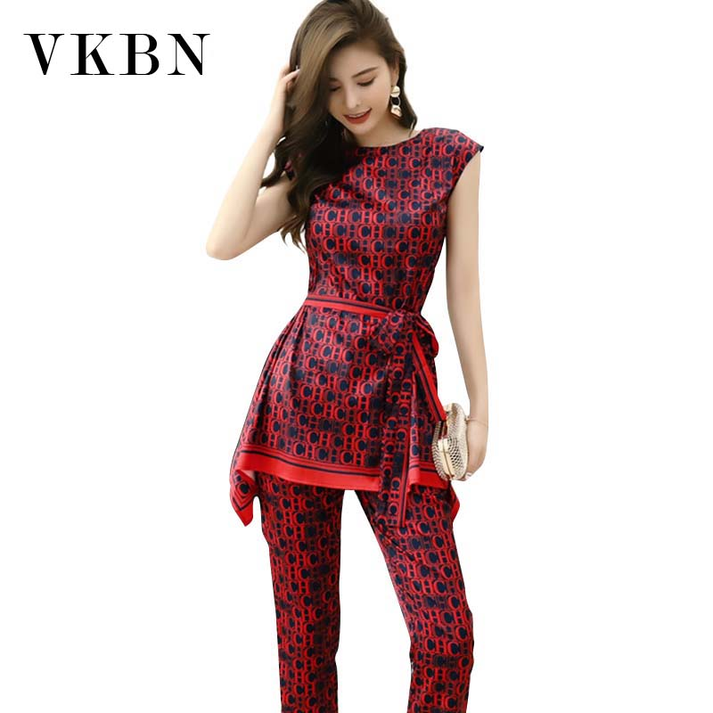 VKBN Irregular Top 2 Piece Set Women Letter Print Sleeveless High Waist Straight Trousers Suit O-Neck Pullover Pants Set