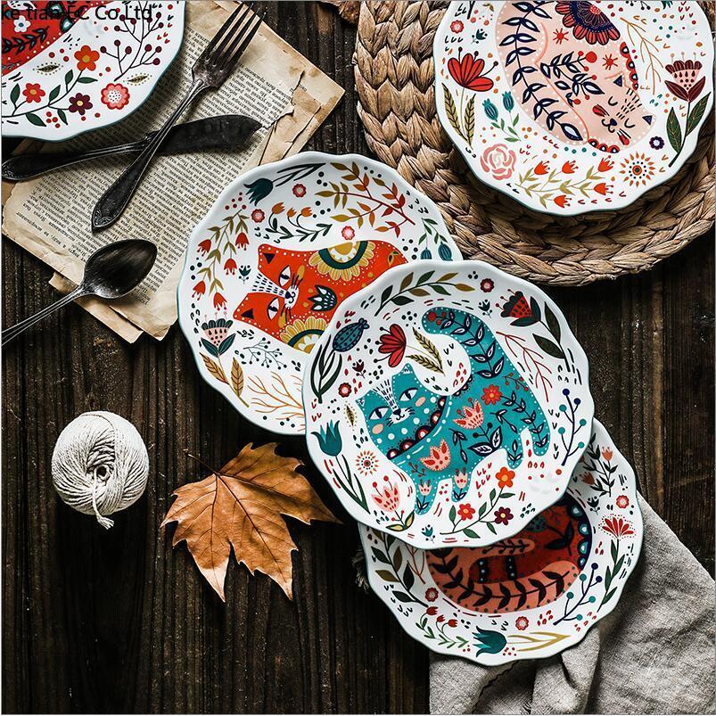 ><font><b>Nordic</b></font> <font><b>style</b></font> creative cartoon hand drawn cat bone porcelain plate Household <font><b>ceramic</b></font> tableware 8 inch dim sum plate dishes plate