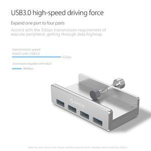 Image 2 - ORICO USB Hub Aluminium Externe 4Ports USB 3,0 Usb Splitter mit 10 30mm Einstellbar Clip für Macbook air Laptop PC Computer Hubs