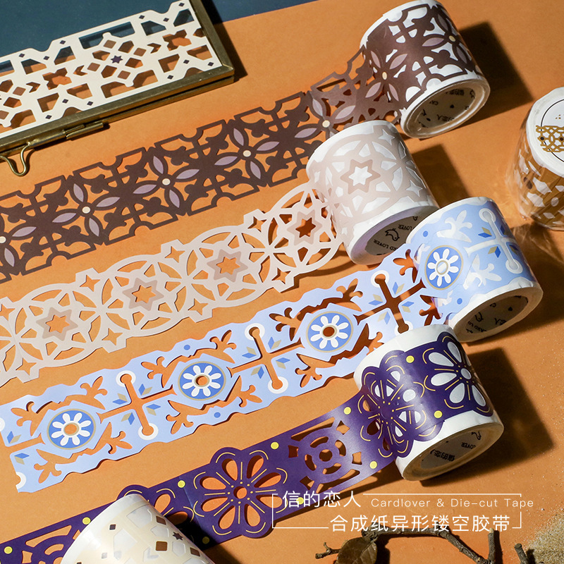 North Africa Style Series Hollow Bullet Washi Masking Tape Release Paper Stickers Scrapbooking Stationery Decorative Tape