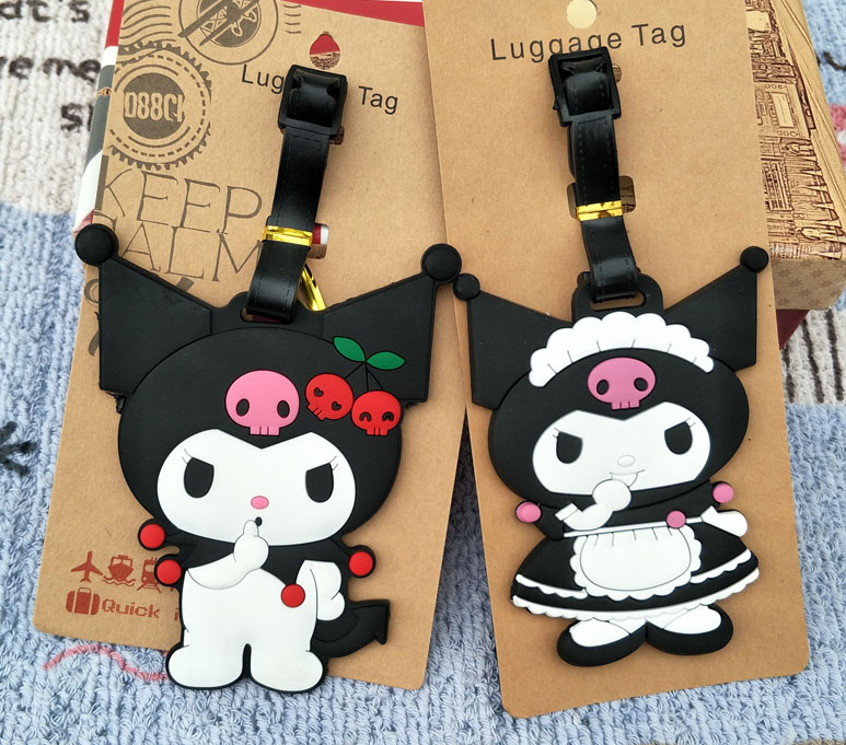 LISM Black Kuromi Anime Luggage Tag Travel Accessories Suitcase ID Address Portable Tags Holder Baggage Labels New