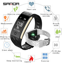Originele sanda nieuwe s2 braçadeira inteligente 50 m waterdichte rastreador de fitness tela toque hartslagmeter display chamada bericht tonen