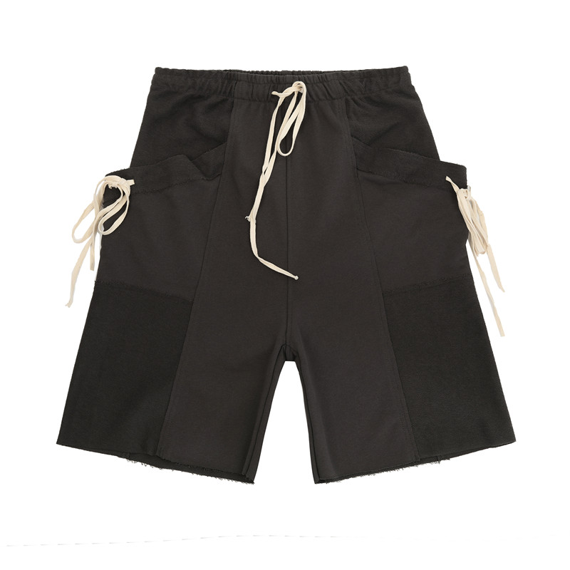 New High Street Drawstring Pockets Ribbons Loose Shorts Men and Women Harajuku Casual Five Point Cargo Pants Oversize