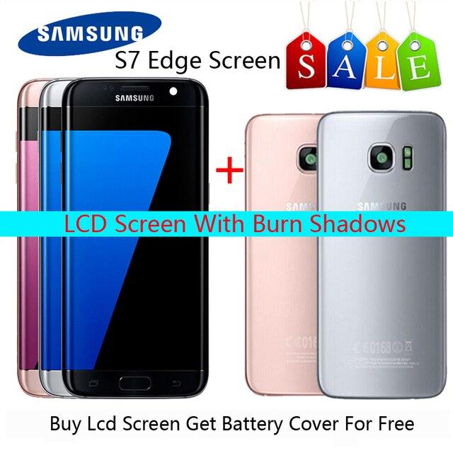 HotSale 5.5 yanık gölge samsung Lcd Galaxy S7 kenar Lcd ekran G935F G935FD Lcd ekran ücretsiz hediye ile S7Edge pil kapak