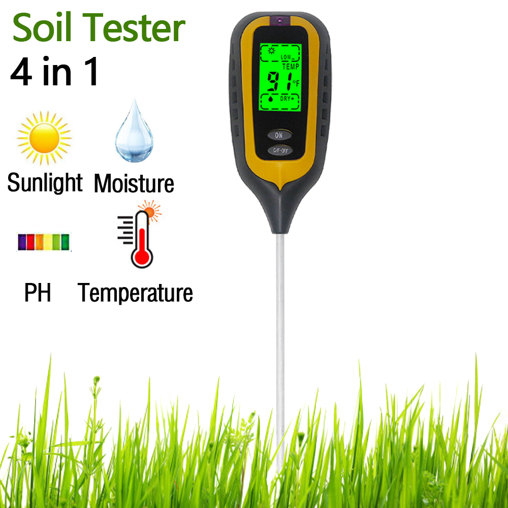 3 In1/4 In 1 PH Meter Soil Tester Soil Moisture Monitor Sunlight Temp Testers Acidity Alkali Measure Tool For Gardening Plant
