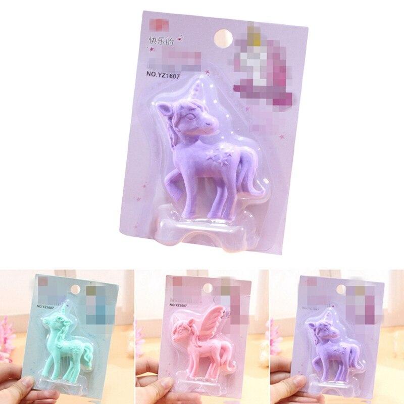 Cute Cartoon Creative Unicorn Pencil Rubber Eraser Kawaii Animal Rubber For School Student Stationery Kids Prize Gift