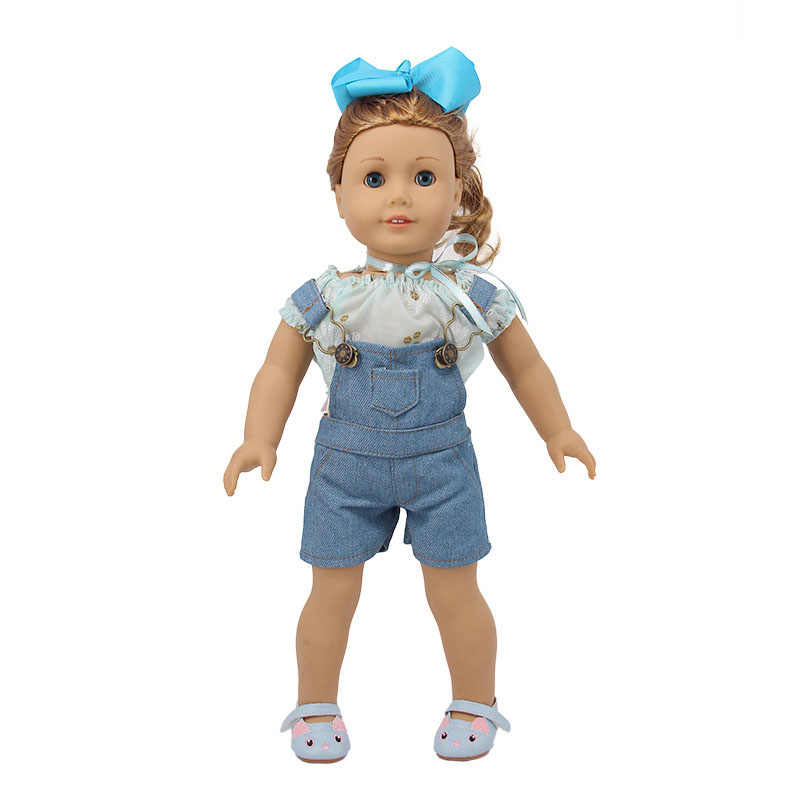 인형 14 스타일 패션 수제 데님 세트/드레스 맞는 18 인치 미국 인형 & 43 cm 태어난 아기, 우리 세대, 생일 소녀의 장난감 선물