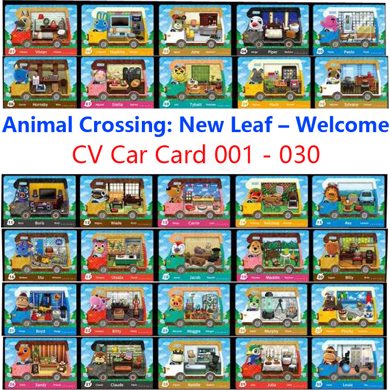 014 Ketchup CV Car Animal Crossing Card New Leaf Welcome Amiibo Car Card NFC For Switch Animal Crossing Amiibo Car Card (01-30)
