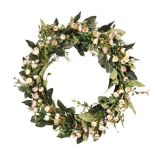 Flower-Wreath Wreath-Decor Spring Front-Door Wall-Hanging Artificial Valentines-Day Summer