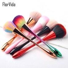 FlorVida 1pc Makeup Brush Powder Pink Rainbow Golden Professional Brushes Kolinsky For Nail Art Manicure Dust Cleaning