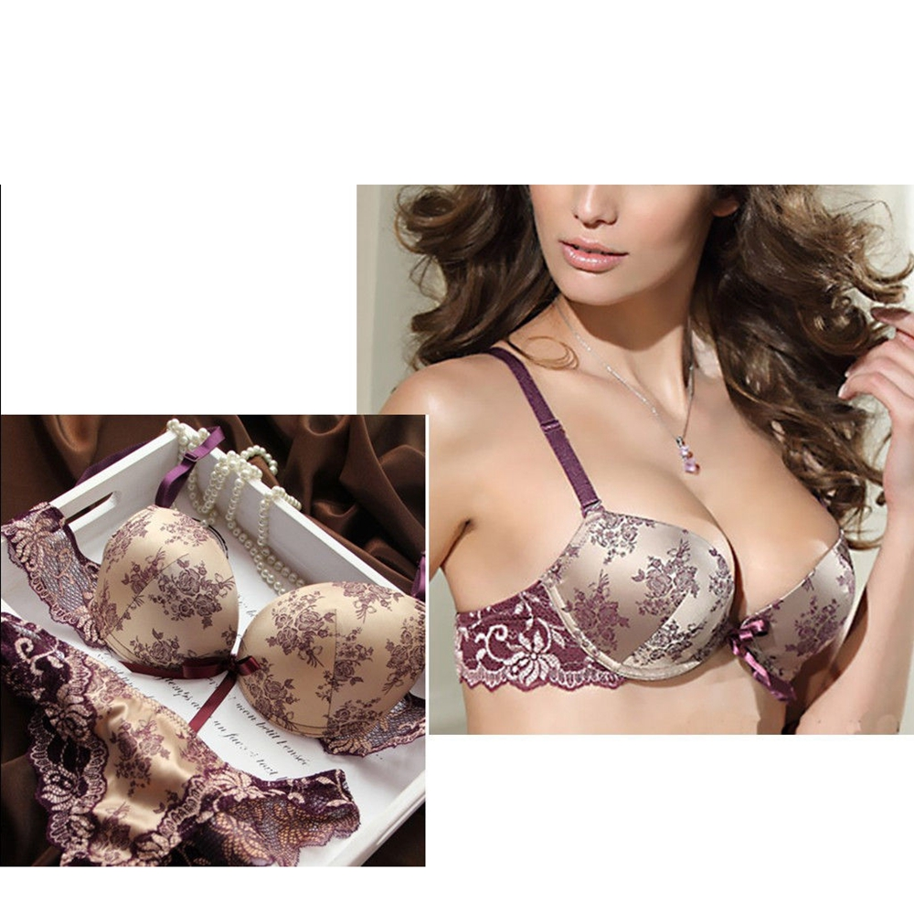 2pcs Sexy Women Embroidery Lace Deep V Lingerie Push Up Bra Lace Bra+ See-through Panty&Knickers Bra & Brief Sets Kit