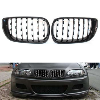 Left Right Car Chrome+Black Front Grille Diamond Metero style Grill For BMW E46 E46 3 Series 320i 325i 330i Facelift 4D 02-05​
