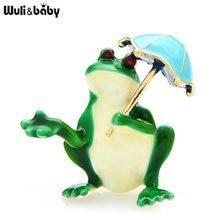 Wuli & baby presa ombrello rana spille donna Unisex 2 colori smalto adorabile animale festa ufficio spille spille regali