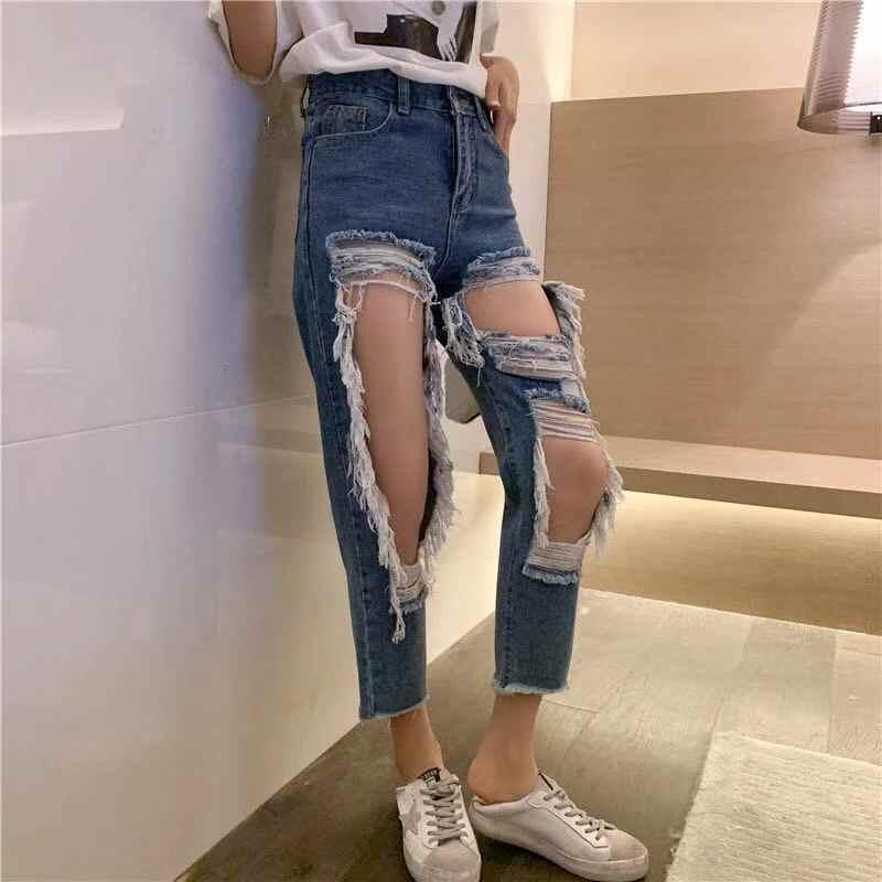 Jeans Wanita Pakaian 2020 Ripped Jeans Mujer Menghancurkan Lubang Denim Jeans Untuk Wanita Plus Ukuran 5xl Celana Jeans Aliexpress