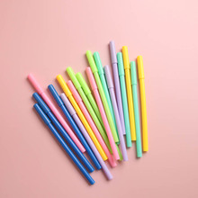 6pcs Pure Color Pen Ballpoint 0.5mm Black Gel Ink Pens for Writing Stationery Office Accessories School supplies Print Logo F950 6pcs novelty capsule ballpoint pen cute vitamin pill blue color ink pens for writing stationery office school accessories a6205